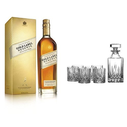 discount duty free Bundle: Johnnie Walker Gold Label Reserve Blended Scotch Whisky 70cl and Royal Doulton Crystal Decanter Seasons Set of 7