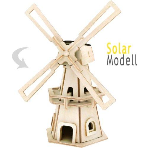 Holz Bausatz Windmühle mit Solarzelle 34-tlg. 8x12x21 cm Steckbausatz f. Kinder Holzbausatz