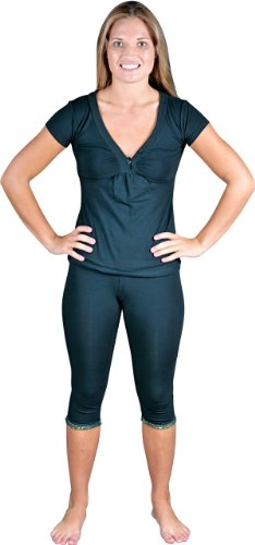 Womens Cotton Shiny Décor V-neck top and Capri - loungewear/PJ/pajama set - Colors Available