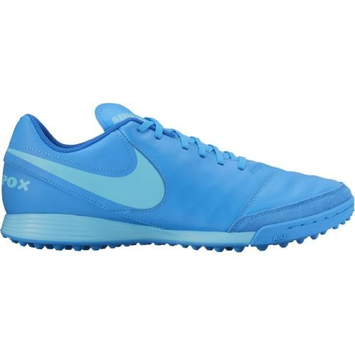 Nike Men's Tiempo Genio II Leather TF Turf Soccer Cleat (Sz. 8) Blue Glow (Tiempo Nike Ii compare prices)