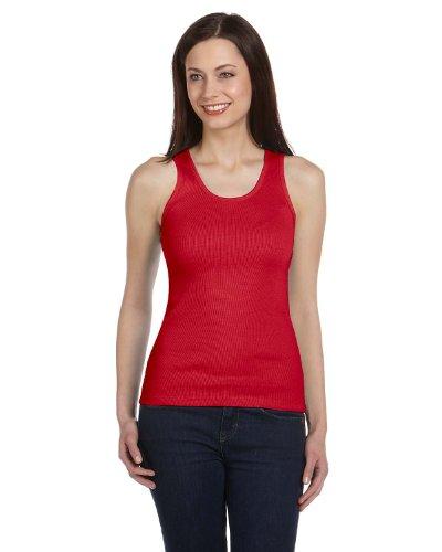 Bella+Canvas Ladies' 2x1 Rib Tank Top - Red - XL