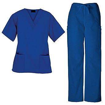 G Med Unisex Medical Scrub Set V-neck 2 Pocket Top and Pant 2 Piece Set(Size XS-3XL)(MENSET-MED,DBL-XL)