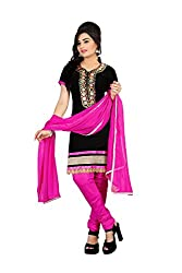 Rk The Fashion Women's Cotton Unstitched Dress Material (RK-FS-402_Black & Pink_Free Size)