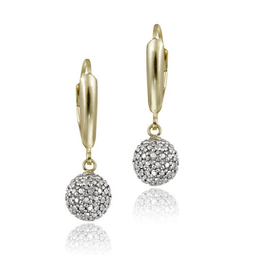 18K Gold over Sterling Silver Diamond Accent Ball Dangle Leverback Earrings