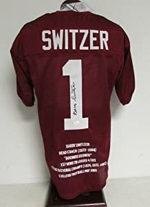 Barry Switzer Oklahoma Sooners Signed Autographed STAT Jersey JSA W387823