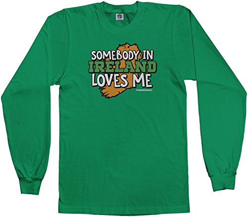 Threadrock Big Girls' Somebody In Ireland Loves Me Youth Long Sleeve T-Shirt