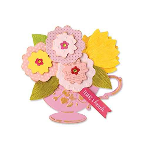 Sizzix Bigz Die with Bonus Textured Impressions Tea Cup Bouquet by Brenda Cottage Walton