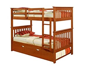 Bunk Bed Twin over Twin Mission style in Espresso with Twin Trundle