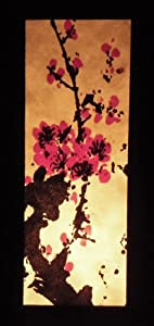 Thai Vintage Handmade Asian Oriental Art Mei flowers Style accessories Bedside Table Light or Floor Wood Paper Lanna Lamp Shades Home Bedroom Decor / Garden Decorative Modern Design from Thailand by The Promise Thai Lanna  Lamp