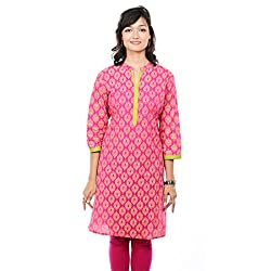 Saamarth Impex Printed Pink Color 3/4 Long Reversible Style Cotton Kurties SI-2072