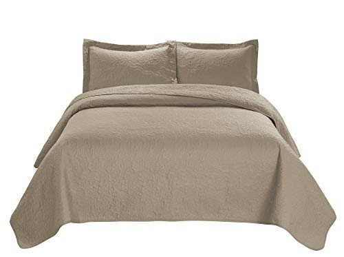 Unique Home 3 Piece JULES Ultrasonic Embossed Bedspread Set-Oversized Coverlet 100x106in, 118x106in (King, Taupe) King