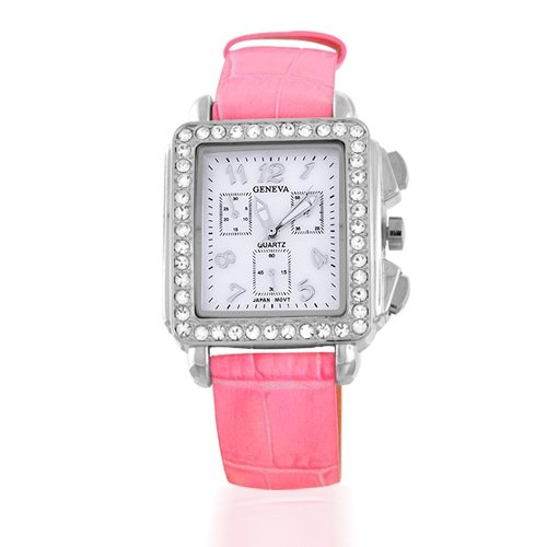 Bling Jewelry Geneva Square Deco Pink Leather Strap Watch