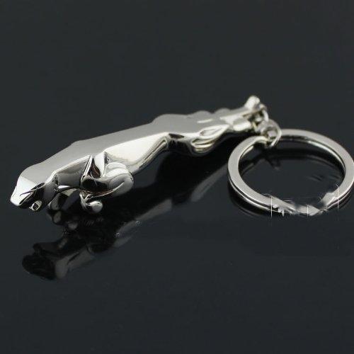 New 3d Jaguar Keychain Men Car Part Collect Metal Key Ring Keyfob Silver Tone