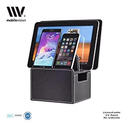 MobileVision Compact / Personal Charging Stand in Executive Faux Leather for Smartphones and Tablets, Individual Desktop Organizer for Docking Devices