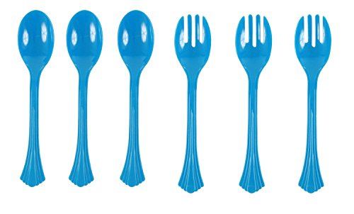 Good Living 6 Piece Reusable Serving Spoon and Fork Set, Blue, 3-pack (18 Pieces)