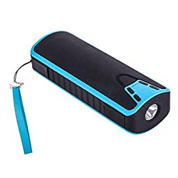 LOLERS Portable Dual Bluetooth Wireless Speaker with 4000mah Power Bank Speaker Stereo USB TF Card Speaker Blue