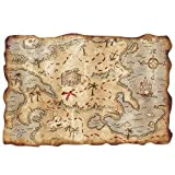 Plastic Treasure Map Party Accessory (1 count) (1 Pkg)