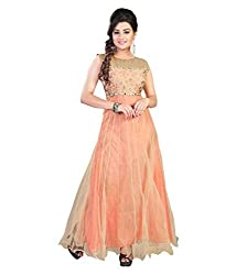 My online Shoppy Women's Net Semi Stitched Dress Material (My online Shoppy_133_Orange_Free Size)