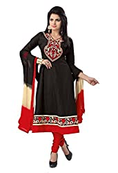 Govardhan Fashion black and red cottan Unstitched Dress Material