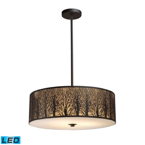 Woodland Sunrise 5-Light Pendant In Aged Bronze - Led, 800 Lumens (4000 Lumens Total) With Full Scale Dimming Range, 60 Watt (300 Watt Total)Equivalent , 120V Replaceable Led Bulb Included