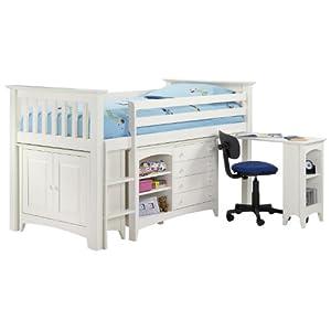 Jayden Childrens Cabin Bed Frame - 3FT Single - Sleepstation Desk - Pine - Stone White Finish