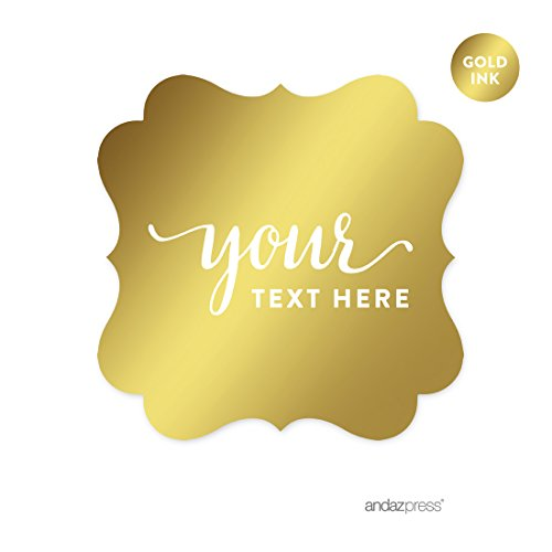 Andaz Press Fully Personalized Fancy Frame Square Favor Gift Tags, Metallic Gold Ink, Solid Gold, 24-Pack, Custom Made Any Text, Not Gold Foil, For Wedding Party Favors, New Baby (Personalized Elmo Gifts compare prices)