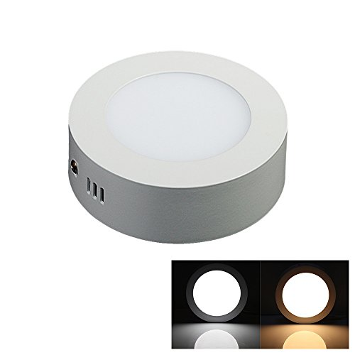 Lvjing® Energy Saving 3000K Round Led Surface Ceiling Panel Down Light Mount Lamp Ultra Thin And Bright (6W, Warm White, Dimmable)