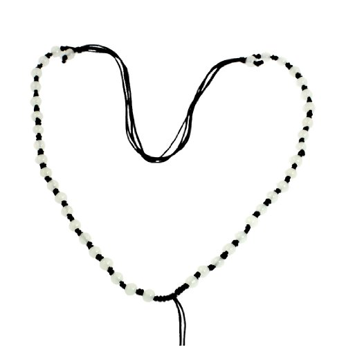 Rosallini Black Nylon Braid String Plastic Beads Necklaces 4 Pcs for Lady