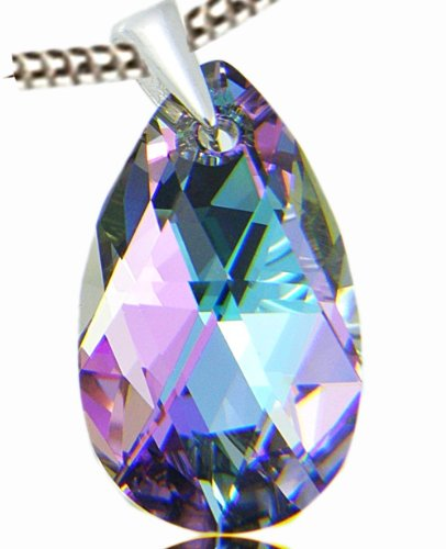 New Victoria's Secret Angels' Style Pure Seudction Swarovski Eternal Love February Birthstone Violet Lavender Amethyst Colour Dazzle Crystal Stone Pear Shape Pendant Necklace 925 Silver finish Fashion Jewellery for Women Birthday Christmas Valentines Moth