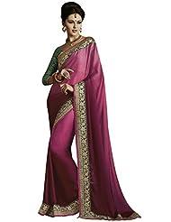 Manvaa Pink Dual Shade Satin Chiffon Saree With Fancy Blouse Piece