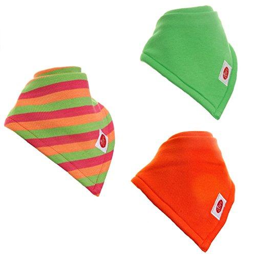 Zippy - Bavaglino tipo bandana molto assorbente, per neonati e prima infanzia, 100% cotone, con laccetti regolabili, set regalo da 3 pezzi, colori pastello, unisex