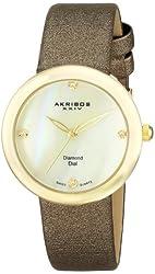Akribos XXIV Women's AK687YG Impeccable Gold-Tone Watch with Diamond Markers