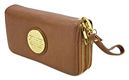 Canal Collection Double Zipper Around PVC Leather Wristlet Clutch Organizer Wallet with Emblem (Camel)