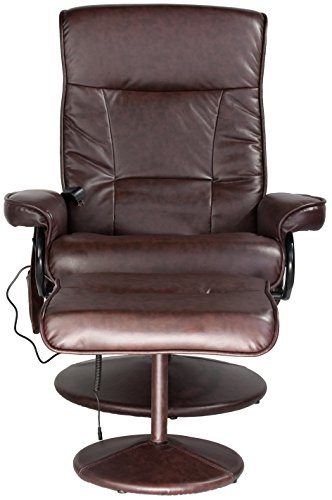 Relaxzen 60-425111 Leisure Recliner Chair with 8-Motor Massage & Heat, Brown