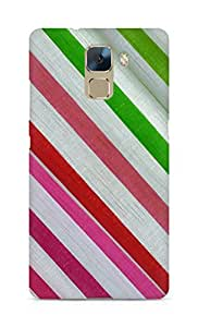Amez designer printed 3d premium high quality back case cover for Huawei Honor 7 (Texture fabric strip)