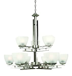 Yosemite Home Decor 95539-3+6SN Half Dome Chandelier with White Frosted Shade, 9-Light, Satin Nickel