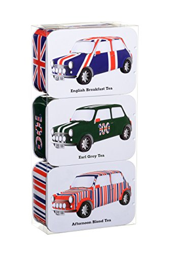 Keep Calm and Carry On British Heritage Mini Car Gift Set of 3 Tea Tins (English Breakfast, Afternoon Blend, Earl Grey), 70g/2.46oz (The British Grocery compare prices)