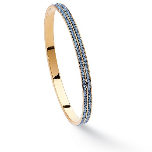 Round Birthstone 14k Yellow Gold-Plated Eternity Bangle Bracelet 9