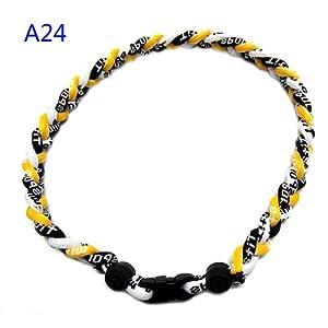 "Titanium Fiber Tornado Baseball Necklace Yellow Black White 20"" from Titanium"