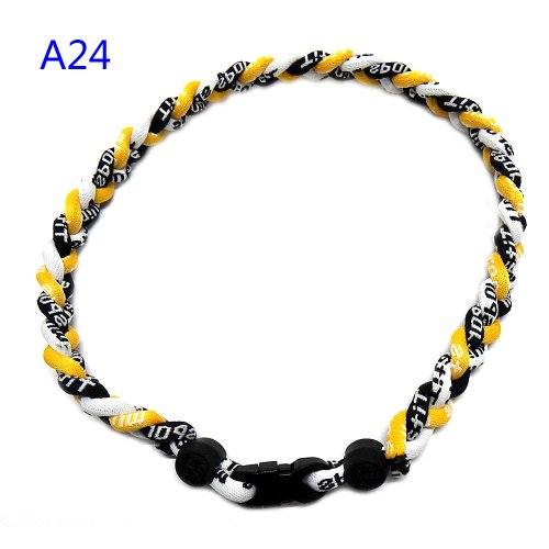 "Titanium Fiber Tornado Baseball Necklace Yellow Black White 20"" from Titanium"
