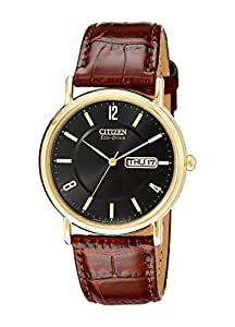 Citizen Men's BM8242-08E Eco-Drive Gold-Tone Stainless Steel Watch with Brown Leather Band