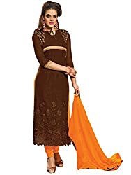 Vibes Womens Pure Georgette Unstitched Dress Materials (V228 6501_Brown)