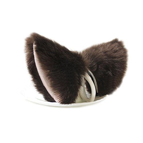 Yiding Cat Fox Fur Ears Hair Clip Anime Cosplay Costume Brown with Beige inside