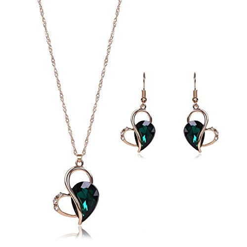 OUFO Necklace Earring Ring Fashion Jewelry Sets Boxed Dark Green Stone (2237)