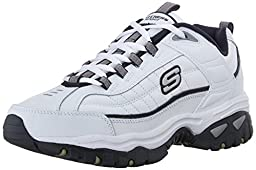 Skechers Sport Men\'s Energy Afterburn Lace-Up Sneaker,White/Navy,10 M US