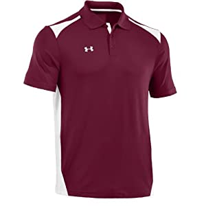 Under Armour Men's Team Colorblock Polo, Maroon White, Large
