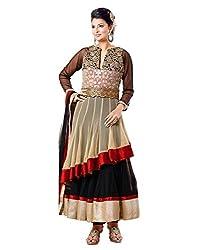 Surat Tex Beige & Black Color Party Wear Embroidered Soft Net Semi-Stitched Anarkali Suit-H982DL2004