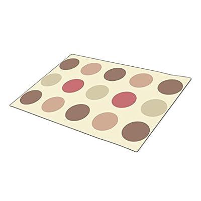 Lingle Retro Rubber Door Mats Blank Retro Giant Earth Tone Polka Dots Pattern