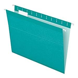 Pendaflex Reinforced Hanging Folders, Letter Size, Aqua, 25 per Box (4152 1/5 AQU)