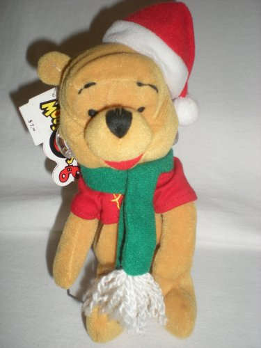 "Disney Mouseketoys Xmas Bean Bag Pooh 8"" Plush - 1"